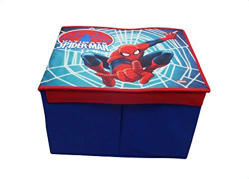 takestop Caja Plegable Spiderman Marver 40x 30x 25cm Caja Tapa Hombre Araña reposapiés Puff diseño habitación Dormitorio decoración para Juegos Juguetes