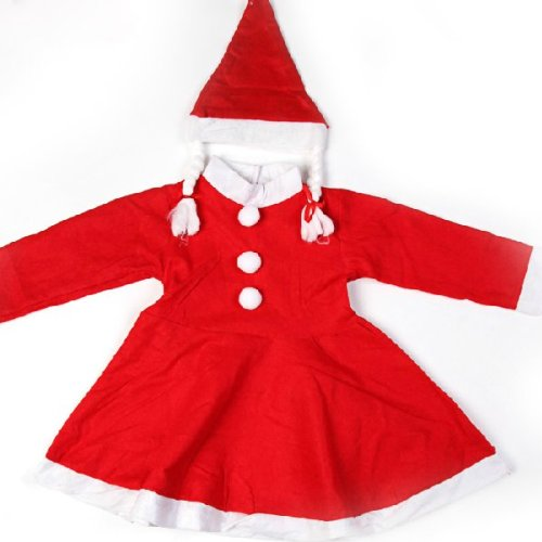 Girls Christmas Santa Clause Costume Suit Outfits (Santa Clause Outfit)