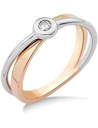 Miore Damen-Ring 14 Karat (585) Bicolor rhodiniert Diamant weiß MRM403R