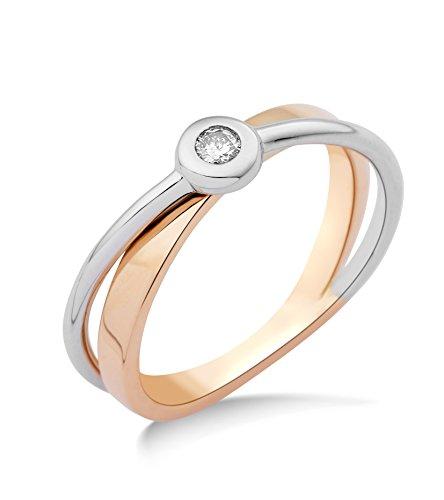 Miore Damen-Ring 14 Karat (585) Bicolor rhodiniert Diamant weiß Gr.58 (18.5) MRM403R8