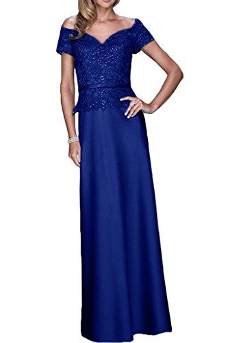 Gorgeous Bride Fashion V-Ausschnitte Etui Satin Spitze Lang Abendkleid Promkleid Abendmode Royalblau