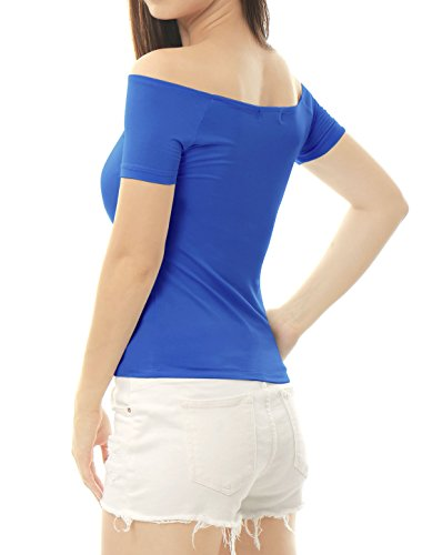Allegra K Damen kurze Arm Slim Fit Schulterfrei Tank Top Oberteil Shirts Royal Blau