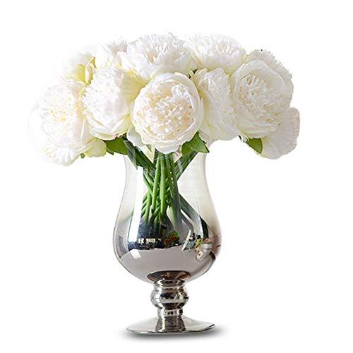 Amorar 5 pezzi artificiali bouquet di peonie in seta fiori di seta per wedding casa decor matrimoni decor peonia mano fiore matrimonio europeo legato fiori decorazione domestica peonia fiori