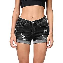 Hocaies Mujer Pantalón Corto Vaquero Mujer Pantalones Cortos Vaqueros Básicos (ES 38 (27W), Negro)