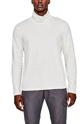 edc by ESPRIT Herren Langarmshirt 097CC2K020 Weiß (Off White 110), X-Large (Off Herren Polo-shirt)