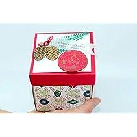 Handgefertigte Explosionsbox zu Weihnachten (Geschenk, Geschenkverpackung für Gutschein, Weihnachtsgeschenk, Präsent, Platz für Weihnachtsgrüße) Zufällige Farbe & Muster
