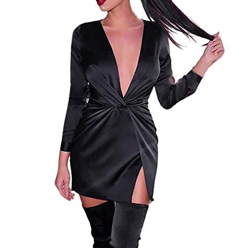 TianWlio Kleider Damen Sexy Binden Lange Ärmel V-Ausschnitt Reißverschluss Figurbetontes Slit Abend Party MidiKleid Schwarz XL