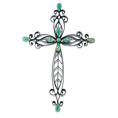 Filigran schwarz türkis Steine 50,8cm Metall Deko-Hänger Wand Kreuz