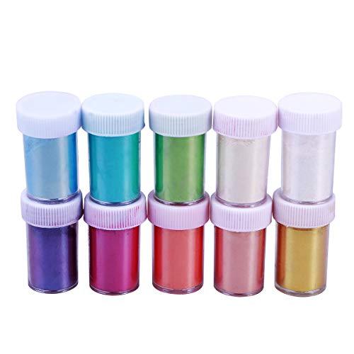 Healifty Mica Pulver, Perlen-Pigment, Schleim, Seife, Farbstoffe für Make-up, Nagelkunst, 10 Stück