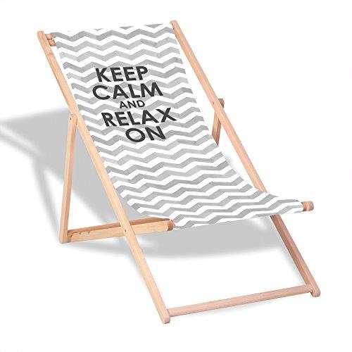 """Queence Dekorativer Holz-Liegestuhl   """"Relax on""""   klappbar   Gartenliege   Strandliege   Sonnenliege   Gartenmöbel   120x60 cm   Verschiedene Motive, Größe:ca. 120x60 cm"""