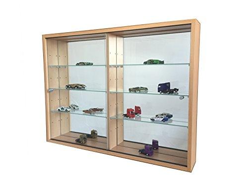 C-Möbel Sammlervitrine Glasvitrine Sammelvitrine Hängevitrine Vitrine Buche Spiegel Schaukasten Glasboden 375 x 70 x 4 mm
