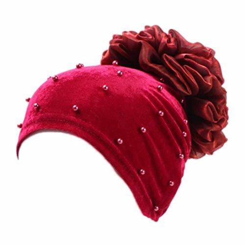 jaminy Frauen-moslemischer Ausdehnungs-Turban-Hut-Blumen-Haar-Verlust-Kopf-Schal-Verpackung (Rot) (Seide Bluse Wickel Chiffon)