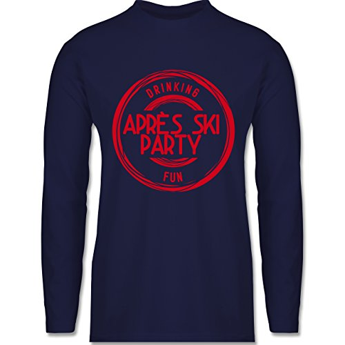 Après Ski - Après Ski Stempel Badge - Longsleeve / langärmeliges T-Shirt für Herren Navy Blau
