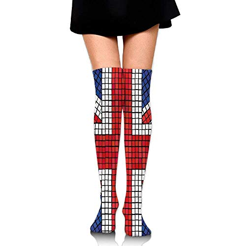 OQUYCZ Woman Mosaic Tiles Inspired Design British Flag National Identity Culture Fashion Long Socks