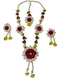 The Peacock Studio Red Yellow Flower Jewellery Set