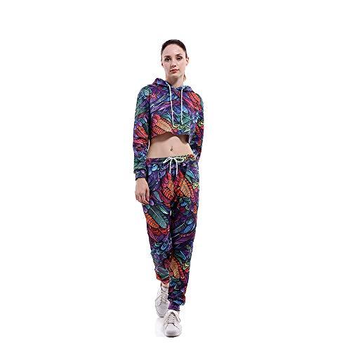 Frauen 2 Stück Blätter Crop Tops Langarm Active Casual Hoodie und Sweatpant Trainingsanzug Set(2XL, blau)