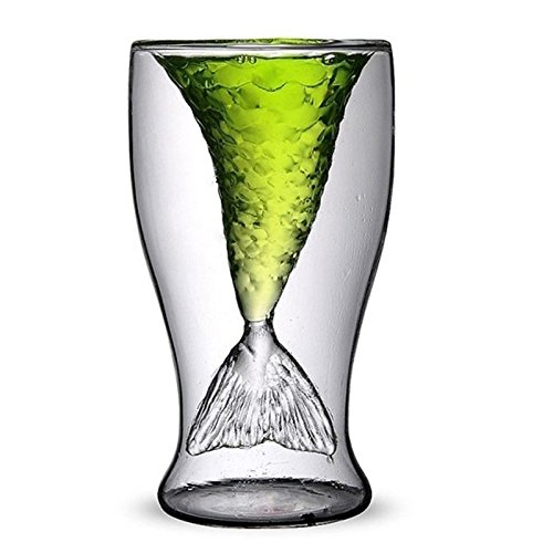 LIUYUNE,Transparentes kreatives Meerjungfrau-Form-Glas-hitzebeständiges Schalen-Bier und Wein(color:TRANSPARENT,size:100ML)