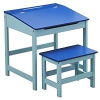 Premier Housewares Kids Desk and Stool Set, 57 x 55 x 48 cm, 2-Piece, Blue_Parent