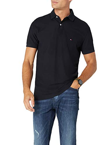 Tommy Hilfiger Herren CORE Hilfiger Regular Polo Poloshirt, Schwarz (Flag Black 060), Large
