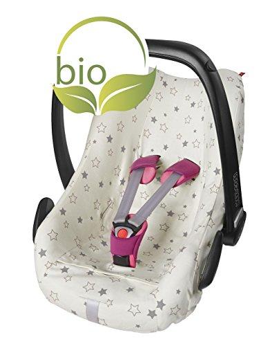 ByBoom® - Sommerbezug, Schonbezug für Babyschale aus 100% BIO-Baumwolle mit Motiv, Universal für z.B. Maxi-Cosi, CabrioFix, Pebble, City SPS, Farbe:Natur - Sterne Grau