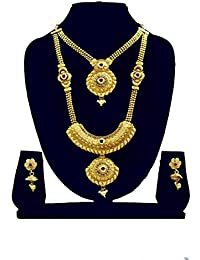 Gold-Plated Long Necklace,Short Chain Haram Necklace With Stud Earring Set For Women - B079JWXRW1