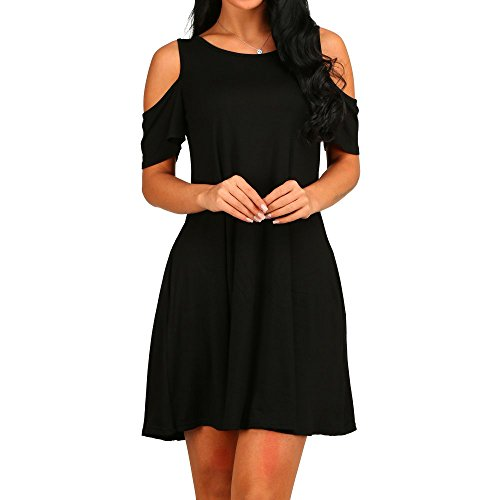 - 412F7z3h1tL - HAOMEILI Women's Cold Shoulder Tunic Top T-Shirt Casual Swing Dress With Pockets