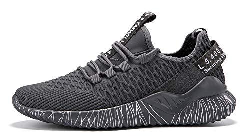 TQGOLD Scarpe da Ginnastica Corsa Uomo Donna Running Sportive Sneakers Scarpe Basket Fitness Sport Basse Outdoor Tennis Respirabile Mesh(Grigio,Taglia 41)