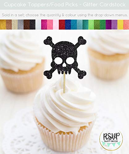 upcake Topper Pirat Schädel Cupcake Topper Piraten unter dem Motto Geburtstag Dekorationen Halloween Cupcake Toppers Totenkopf Party ()