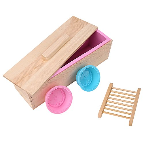 TTLIFE Rectangular Silicone Soap Mold with Wood Box and Wood Lid with 2 pressing holes, 2-piece round silicone mold and a Wood soap holder for free (Pink)