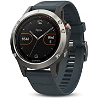 Garmin Fenix 5 Multisport GPS Watch with Outdoor Navigation and Wrist-Based Heart Rate, Silver with Granite Blue Band