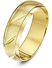 Theia Unisex 9 ct Yellow or White Gold, Matt Finish with Polished Edges and Diagonal Grooves, 5-7 mm Wedding Ring
