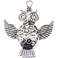Julie Wang 6pcs Silber Eule Bird Animal Diffusor Medaillon Pearl Stein Gem Perlen Käfig Anhänger mit Magnetverschluss preisvergleich bei billige-tabletten.eu