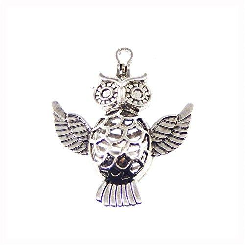Julie Wang 6pcs Silber Eule Bird Animal Diffusor Medaillon Pearl Stein Gem Perlen Käfig Anhänger mit Magnetverschluss