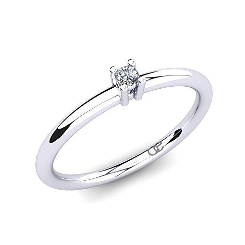 Moncoeur Diamantring Esmeraude + Solitär Diamantringe Verlobungsringe 375 Weißgold mit Diamant 0,025 ct w/vs sehr gute Qualität + Perfekter Heiratsantrag +...