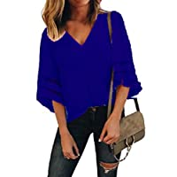Fieer Women's Patched Plus-size Hollow Out Mesh Solid-Colored Blouses Ladies Tops Dark Blue L