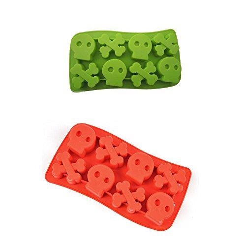ZWANDP Silikon Schädel Knochen Knochen Chillers Eis Würfel Tray 2 Stück rot und grün