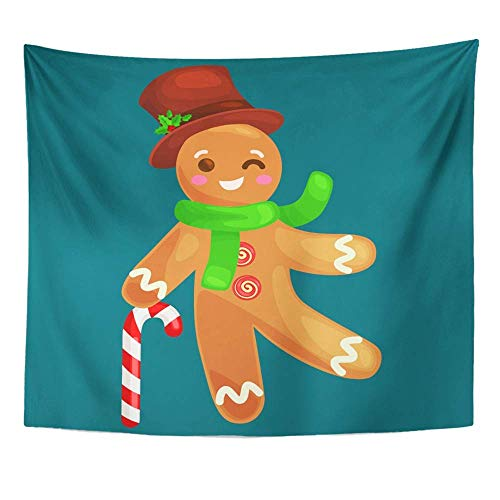AOCCK Wandteppiche Wall Hanging Christmas Cookies Gingerbread Man Decorated Icing Holding Candy Xmas Sweet 60