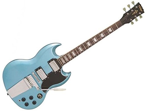 Vintage VS6guitarra w/Vibrola cordal-Gun Hill azul