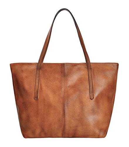 ZLYC Damen Handarbeit Einkaufstasche aus echtem Leder im Vintage-Stil Handtasche (Kuh-leder-beutel)