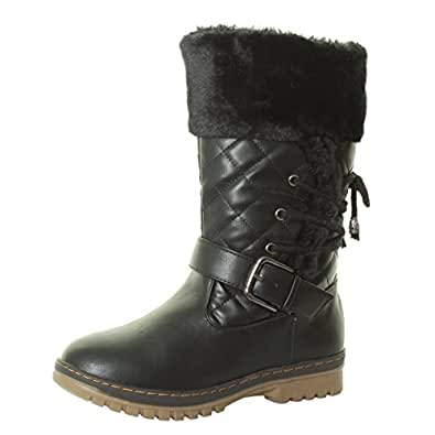 BY TILLY LONDON NEW BLACK TAN GREY TRENDY WOMENS LADIES GIRLS FLAT QUILTED QUILT LOW HEEL LACE FUR LINED SNOW WINTER CALF BOOTS SIZE 3 4 5 6 7 8 (UK 5, Black)