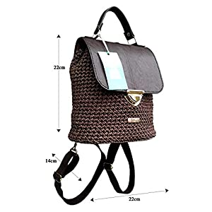 Braun lederrucksack mit Kette.Damentasche mit rucksackfunktion. EXKLUSIVER Designer gehäkelte Rucksack.Ungewöhnlichen Design.Unikat