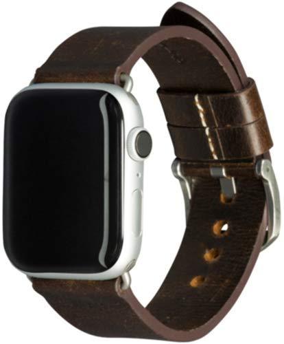 dbramante1928 Echtleder-Uhrenarmband für Apple Watch (42/44mm) - [Modell: Bornholm, Saffianoleder, Handgefertigt, Farbe: dunkelbraun/silber] - AW44DBSI1034
