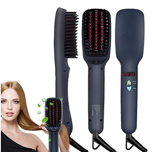 NOBGP Ionische Haarglättungsbürste, MCH-Keramikheizung, Anti-Verbrühungs-Funktion, automatische Temperatursperre und automatische Reise-Haarglättungsbürste für alle Haartypen -
