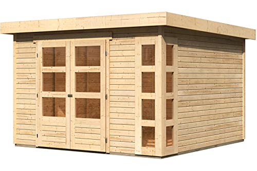 *WOODFEELING Gartenhaus Kerko 6, Fichtenholz 19 mm, Flachdach, versch. Farben naturbelassen*