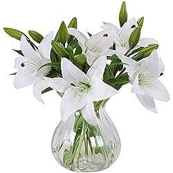 MEIWO Künstliche Blumen, 5 Stück Real Touch Latex Künstliche Lilien Blumen in Vasen Hochzeit Sträuße/Home Dekor/Party / Graves Arrangement(Weiß)
