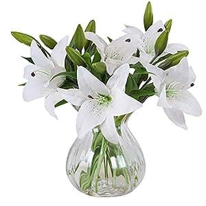 MEIWO Fleurs Artificielles, 5 Pcs Real Touch Latex Artificial Lilies Flowers dans Les Vases Bouquets de Mariage/Décoration Intérieure/Party / Graves Arrangement(Blanc)