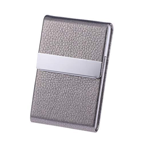 Toyvian Portacarte di grande capacità Sezione verticale Portamonete Porta carte di credito Unisex Biglietto da visita Portafoglio in metallo Cuoio Scatola in acciaio solido (grigio)