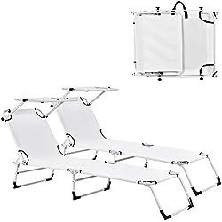 [casa.pro] Transats [2er Set] pliable 190cm blanc avec toiture pare-soleil de relax aluminium