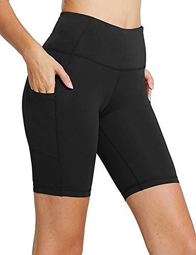 Sudawave Damen Fitness Yoga Shorts Trainieren Shorts (Schwarz, S)