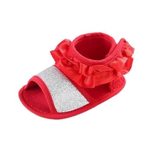 Chaussures de bébé,Transer ®Été chaussons filles fleur sandales enfant princesse première marche 0-18 mois Rouge